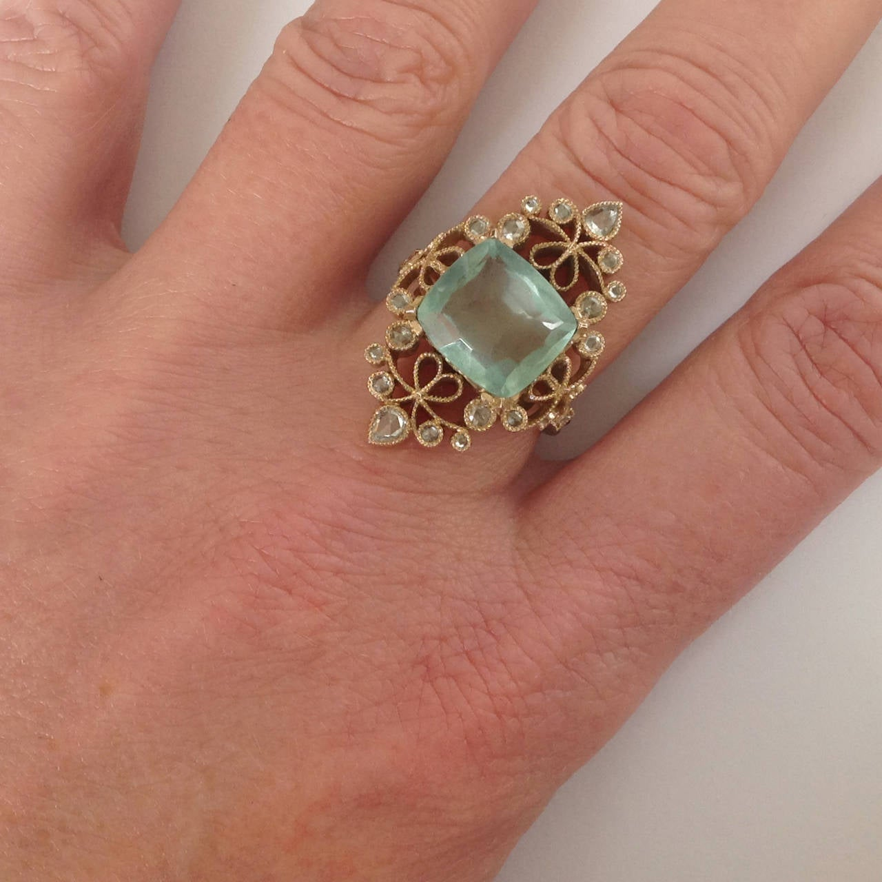 Dalben 4.50 Carat Aquamarine Diamond Gold Ring 8