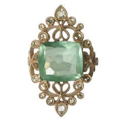 Dalben 4.50 Carat Aquamarine Diamond Gold Ring