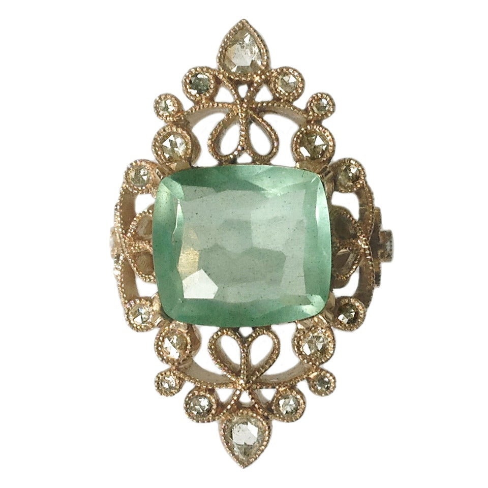 Dalben 4.50 Carat Aquamarine Diamond Gold Ring 1