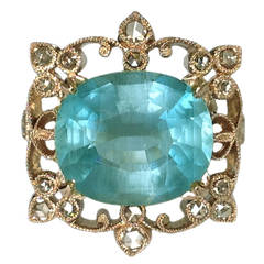 Dalben Aquamarine and Brown Diamond Gold Ring