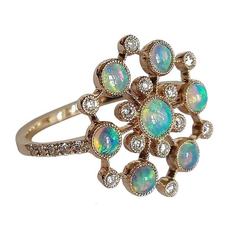 Dalben Australian Opal Diamond Gold Ring