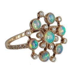 Dalben Australian Opal Diamond Gold Ring