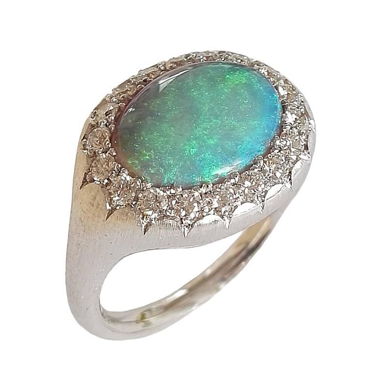 Dalben Australian Opal Diamond Gold Millerighe Ring