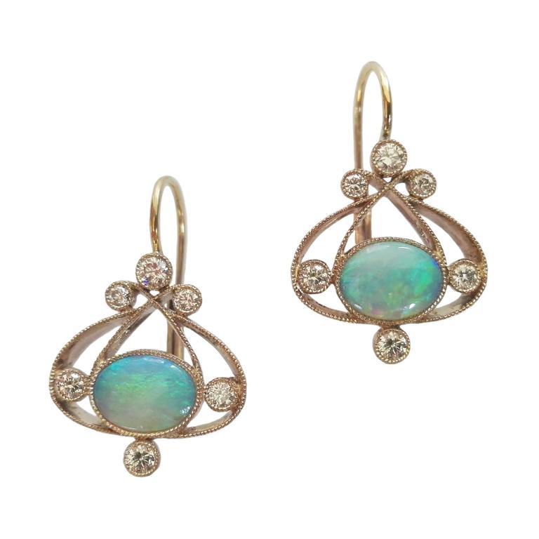 Dalben Australian Opal Diamond Gold Earrings At 1stdibs