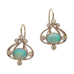 Dalben Australian Opal Diamond Gold Earrings
