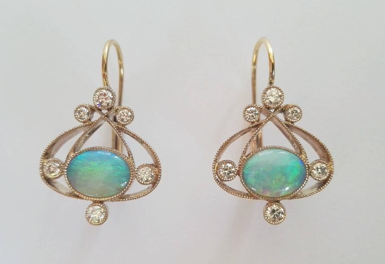 Dalben Design Opal Earrings With 2 Australian Opals Weighing 1 4 Carats And 12 White