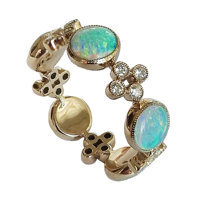 Dalben Australian Opal Diamond Gold Large Band Ring