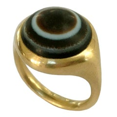 Dalben Unisex Round Banded Agate Gold Ring