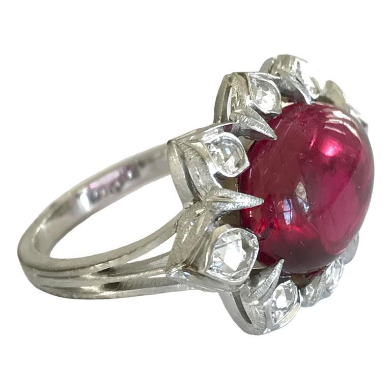 Dalben Red Tourmaline Rose Cut Diamond Gold Ring
