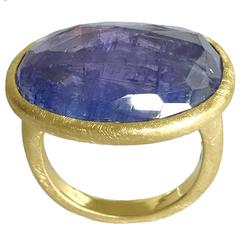 Dalben One of a Kind Tanzanite Scratch Engraved Gold Ring