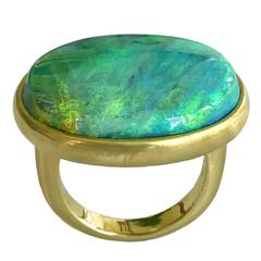 Dalben Magnificent Lightning Ridge Australian Opal Gold Ring
