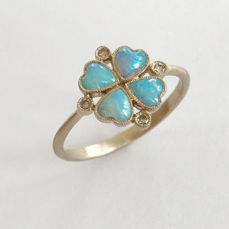 Women's Dalben Opal Diamond and Gold Four-Leaf Clover Little Ring For Sale