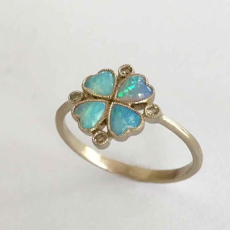 Dalben Opal Diamond and Gold Four-Leaf Clover Little Ring For Sale 1