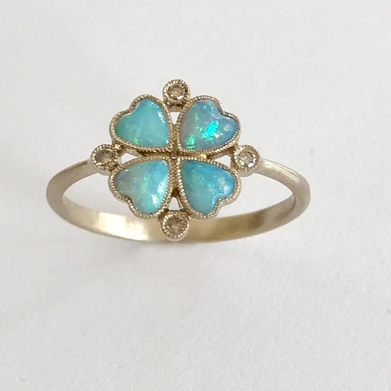 Dalben Opal Diamond and Gold Four-Leaf Clover Little Ring For Sale 2