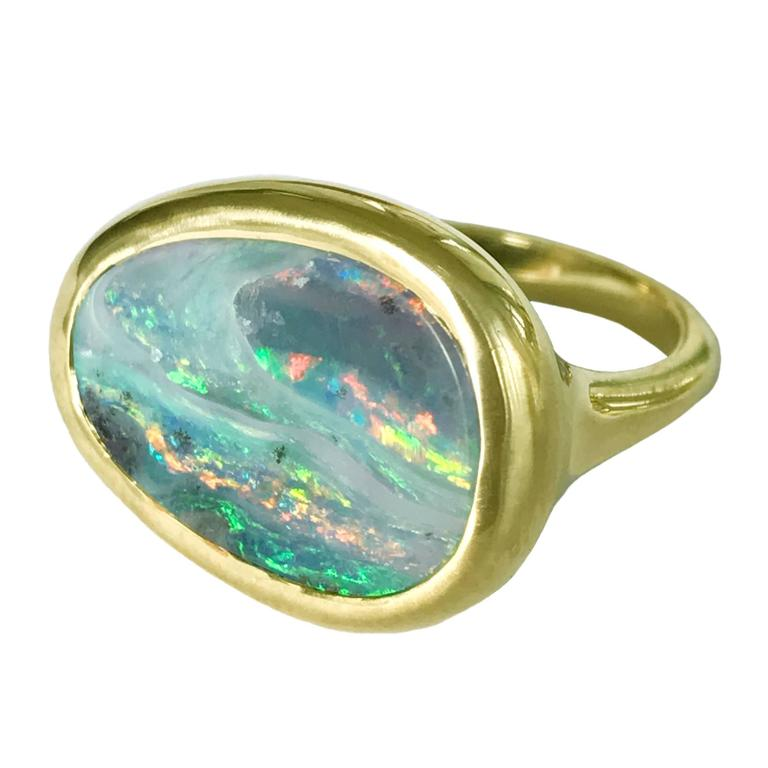 Dalben Stormy Sky Australian Boulder Opal Yellow Gold Ring For Sale