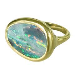 Dalben Stormy Sky Australian Boulder Opal Yellow Gold Ring