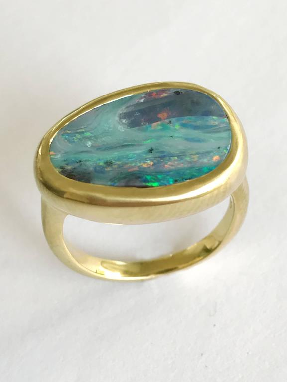 Dalben Stormy Sky Australian Boulder Opal Yellow Gold Ring In New Condition For Sale In Como, IT