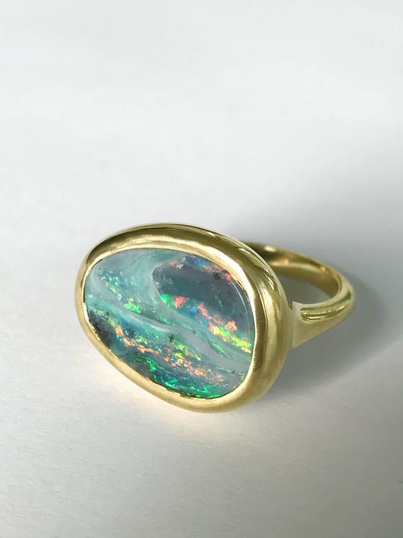 Women's Dalben Stormy Sky Australian Boulder Opal Yellow Gold Ring For Sale