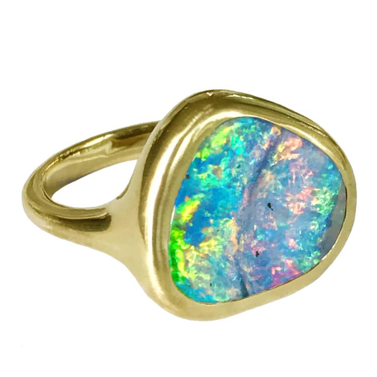 Dalben Rainbow Australian Boulder Opal Yellow Gold Ring For Sale