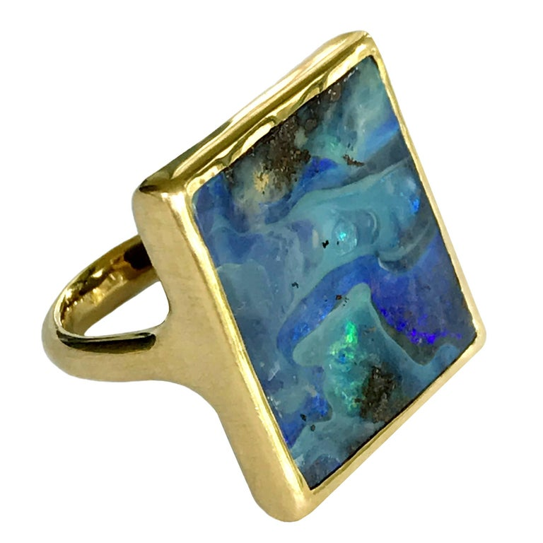Dalben Blue Rectangular Boulder Opal Yellow Gold Ring