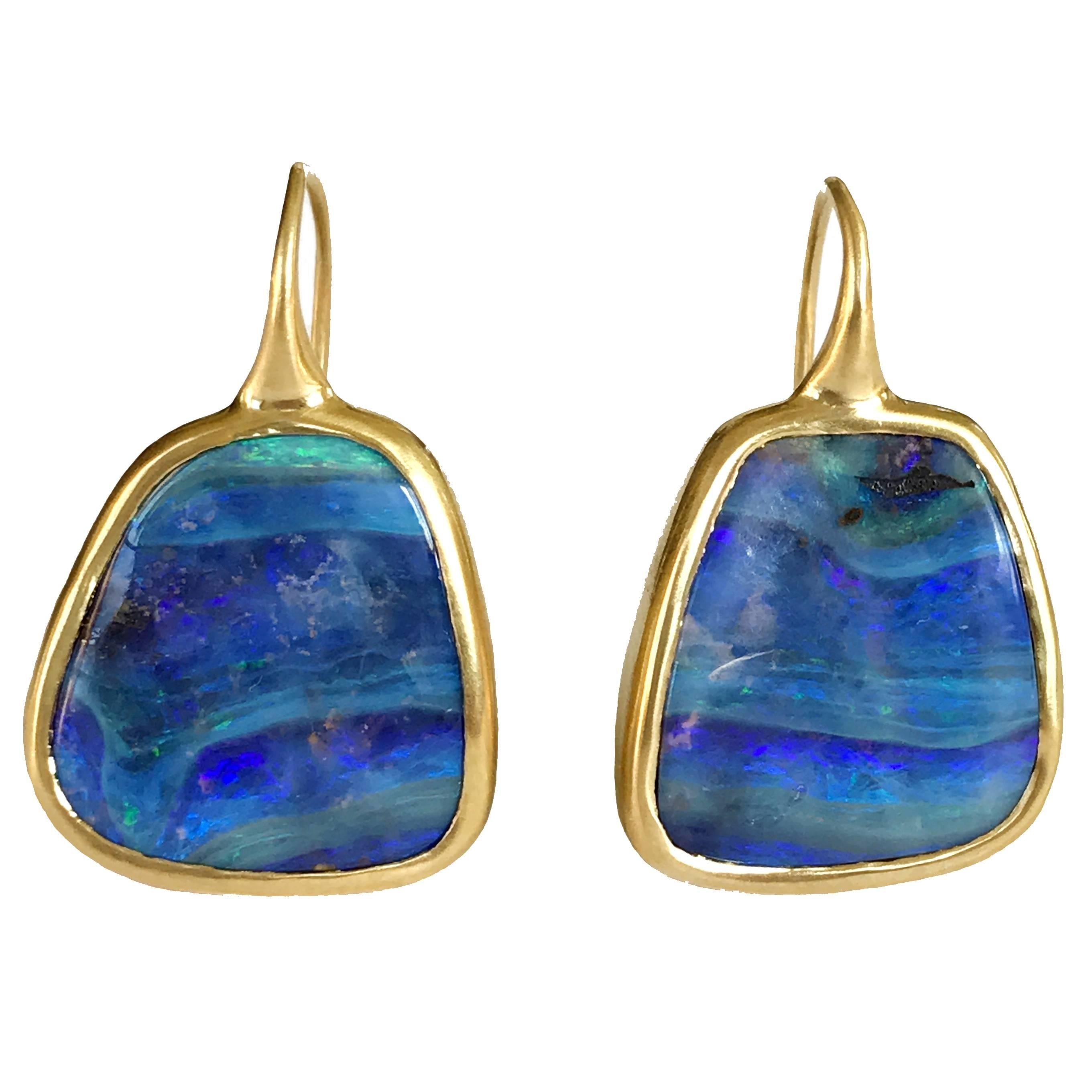 Dalben Australian Boulder Opal Yellow Gold Earrings