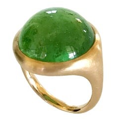 Dalben Round Cabochon Green Toumaline Rose Gold Ring