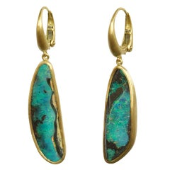 Dalben Blue Australian Boulder Opal Yellow Gold Dangle Earrings
