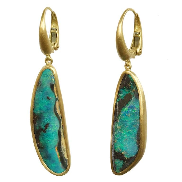 Dalben Blue Australian Boulder Opal Yellow Gold Dangle Earrings