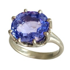 Dalben Natural Certified No Heat 9.37 Carat Ceylon Blue Sapphire Gold Ring