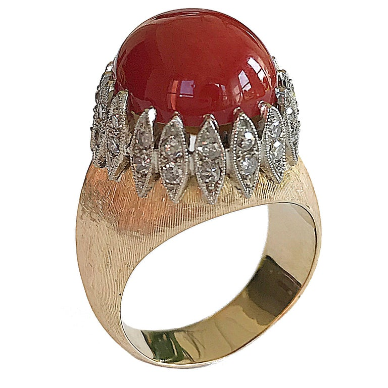 Vintage Italian Red Coral Diamond Yellow Gold Ring