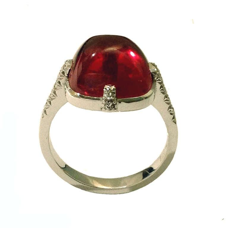 Dalben Red Tourmaline Diamond Gold Ring