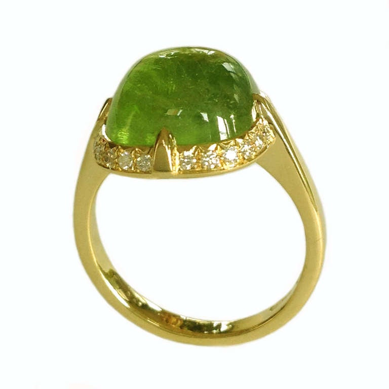 Dalben Peridot Diamond Gold Ring For Sale