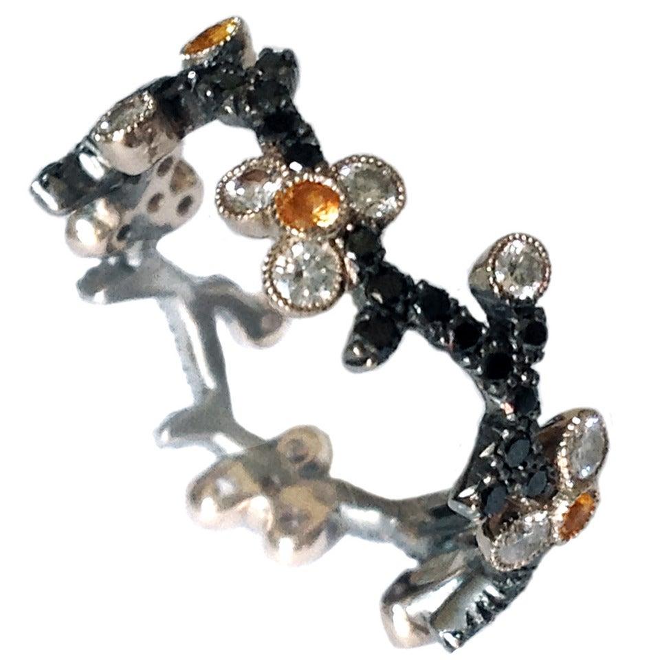 Dalben Cherry Blossom Yellow Sapphire Diamond Gold Band Ring