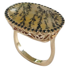 Dalben Quartz Black Diamond Gold Ring