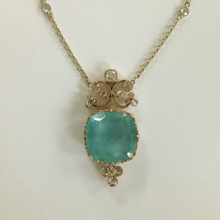 Dalben Aquamarine Diamond Gold Pendant Necklace 5