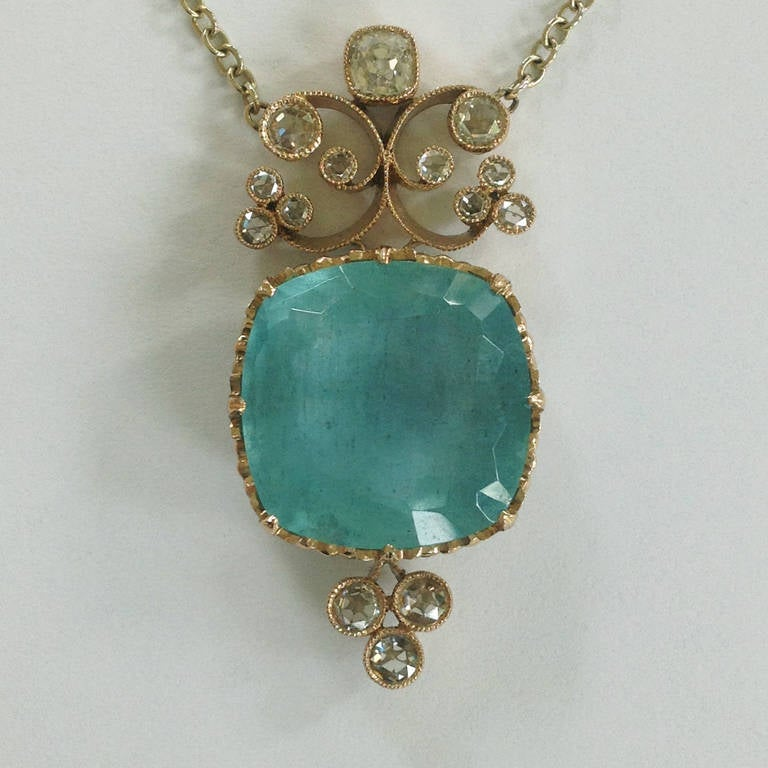 Dalben Aquamarine Diamond Gold Pendant Necklace 4