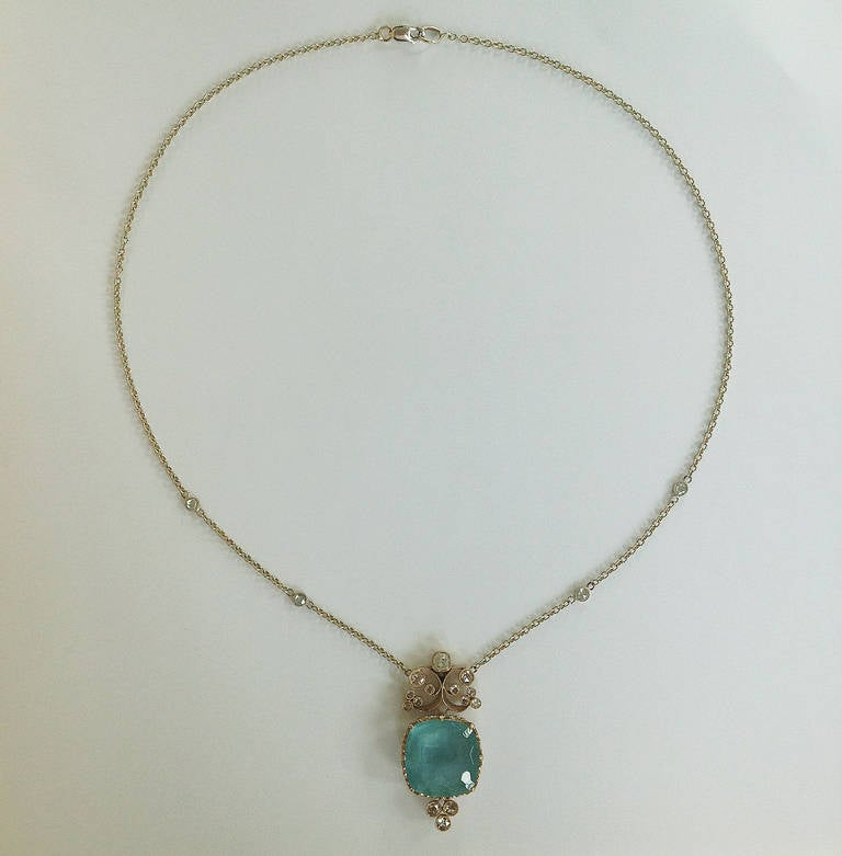 Dalben Aquamarine Diamond Gold Pendant Necklace 7
