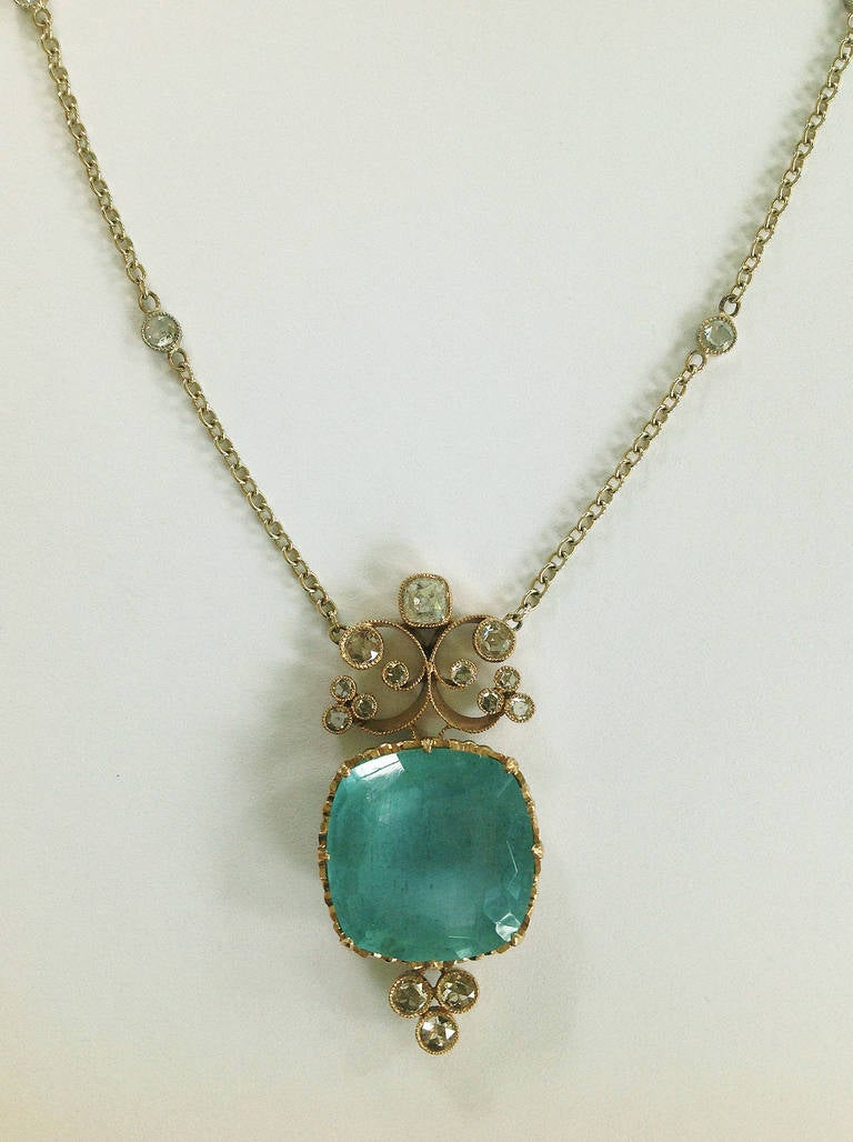 Dalben Aquamarine Diamond Gold Pendant Necklace 3