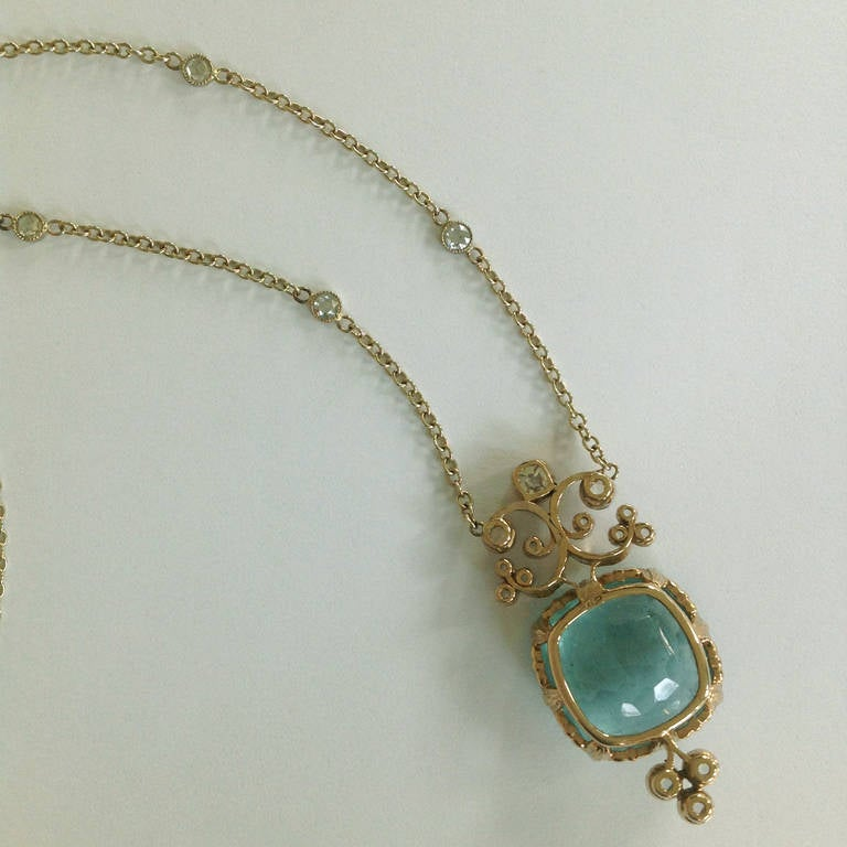 Dalben Aquamarine Diamond Gold Pendant Necklace 8