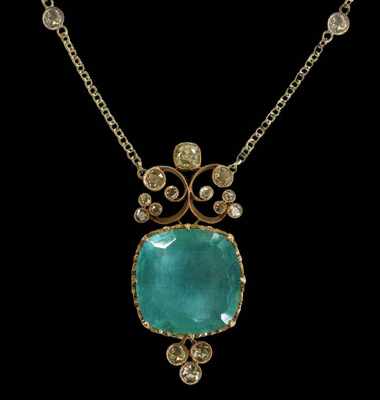 Dalben Aquamarine Diamond Gold Pendant Necklace 2