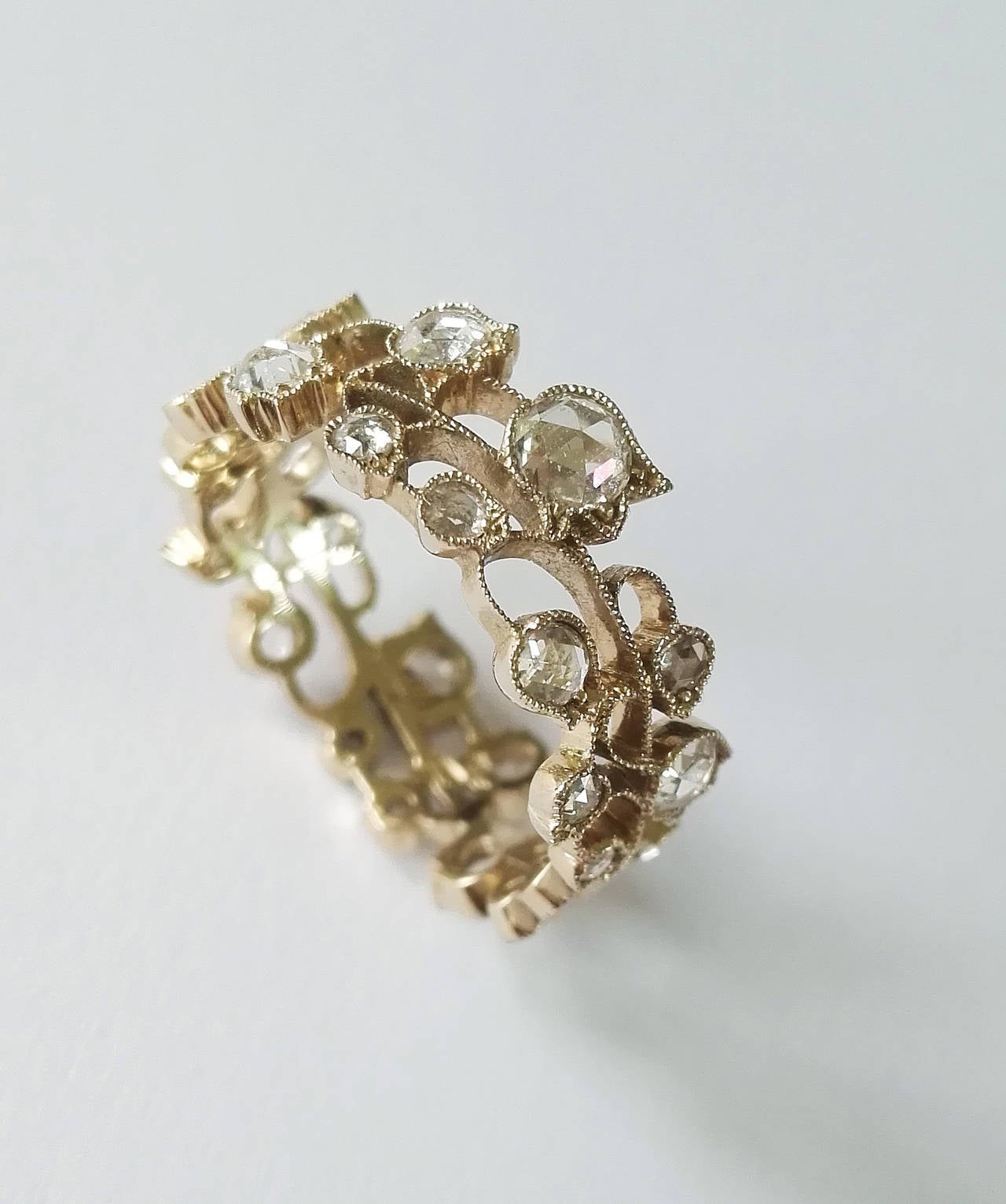 Romantic Dalben Lily of the Valley Diamond Gold Band Ring For Sale