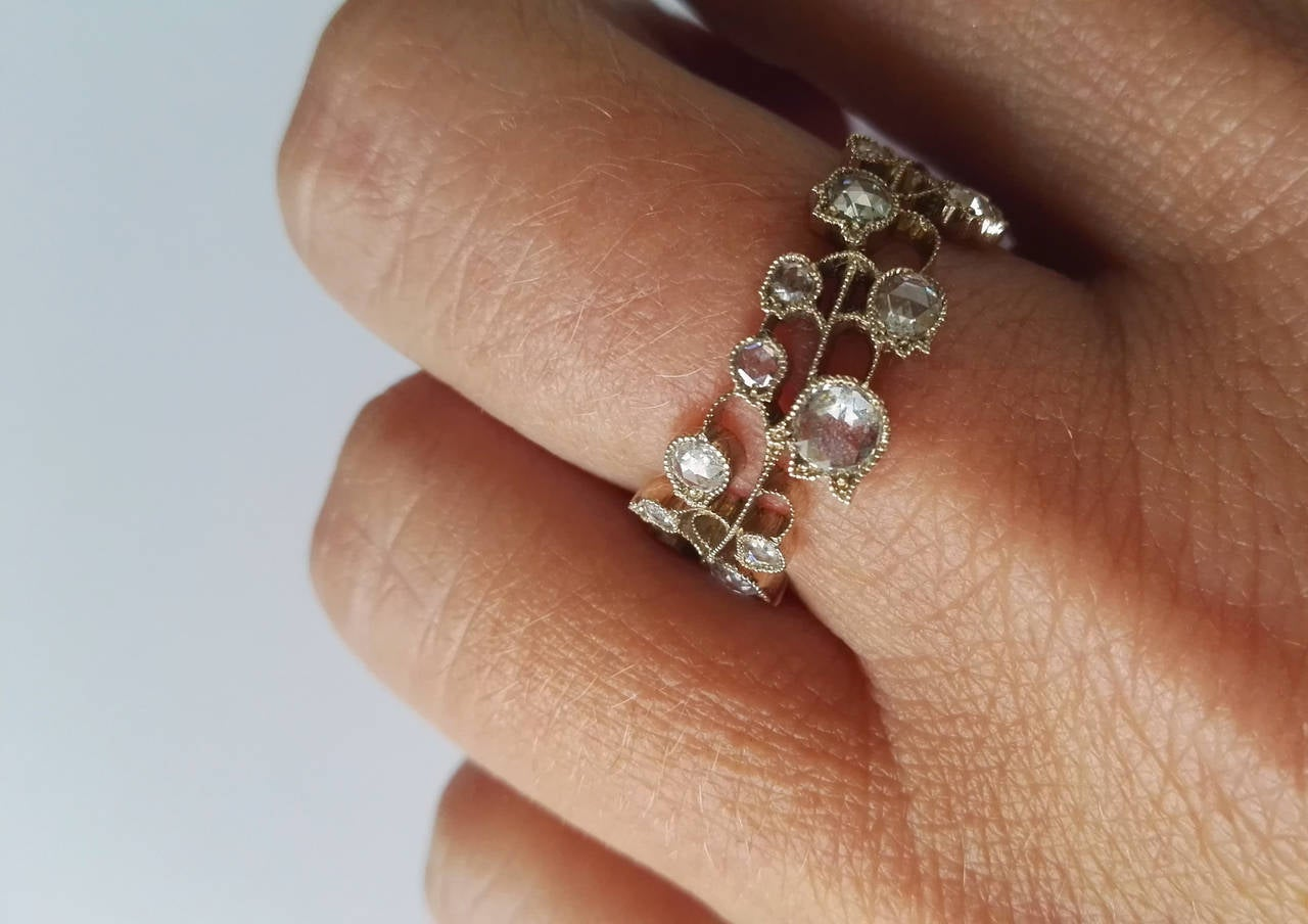 Dalben Lily of the Valley Diamond Gold Band Ring For Sale 2
