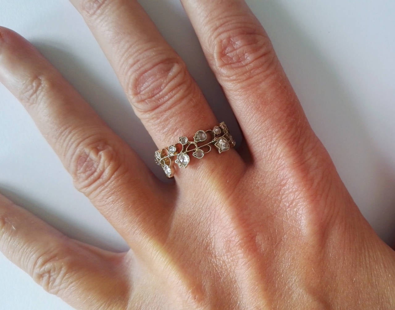 Dalben Lily of the Valley Diamond Gold Band Ring For Sale 4