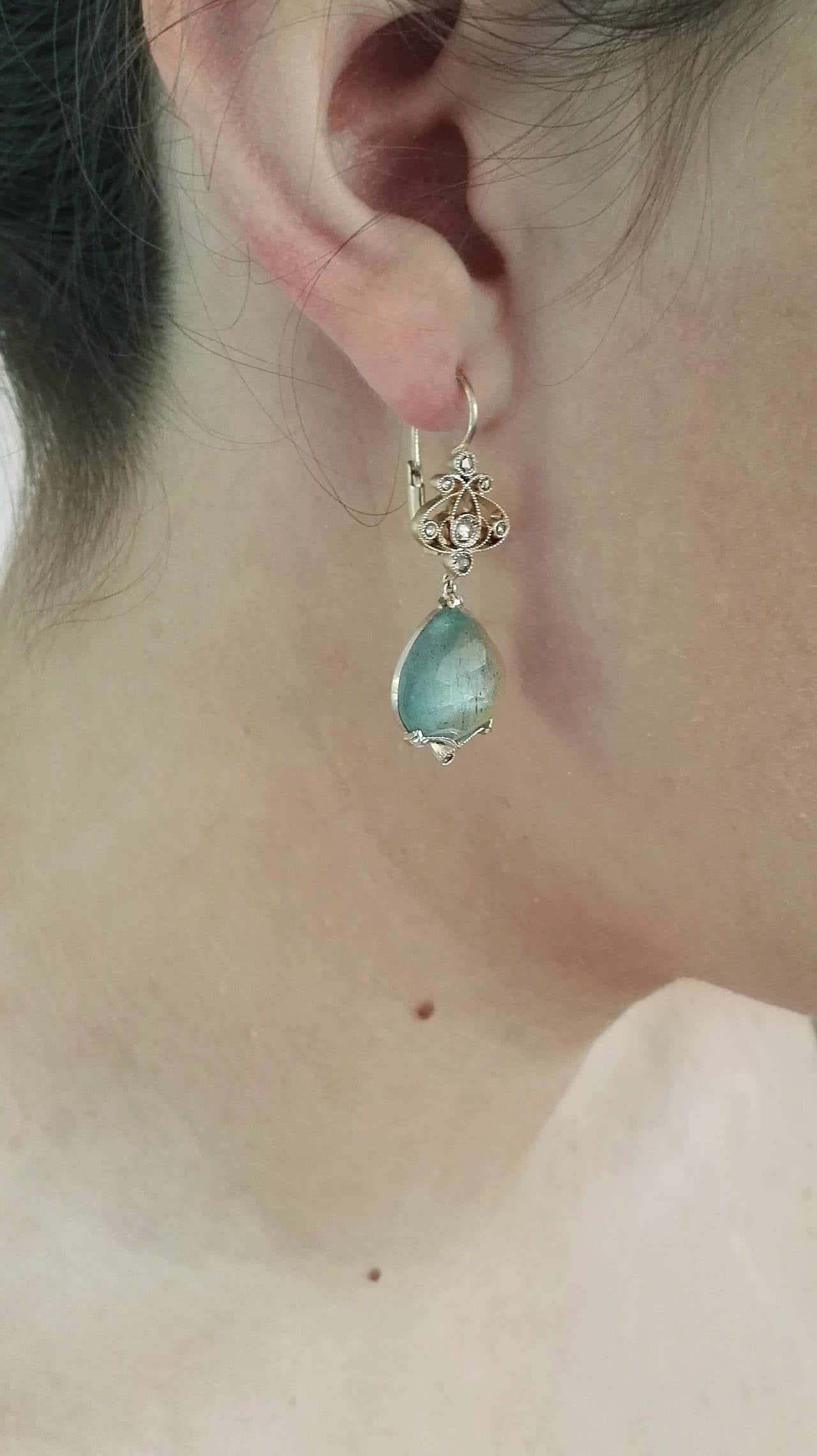 Dalben Aquamarine Diamond Gold Earrings 6