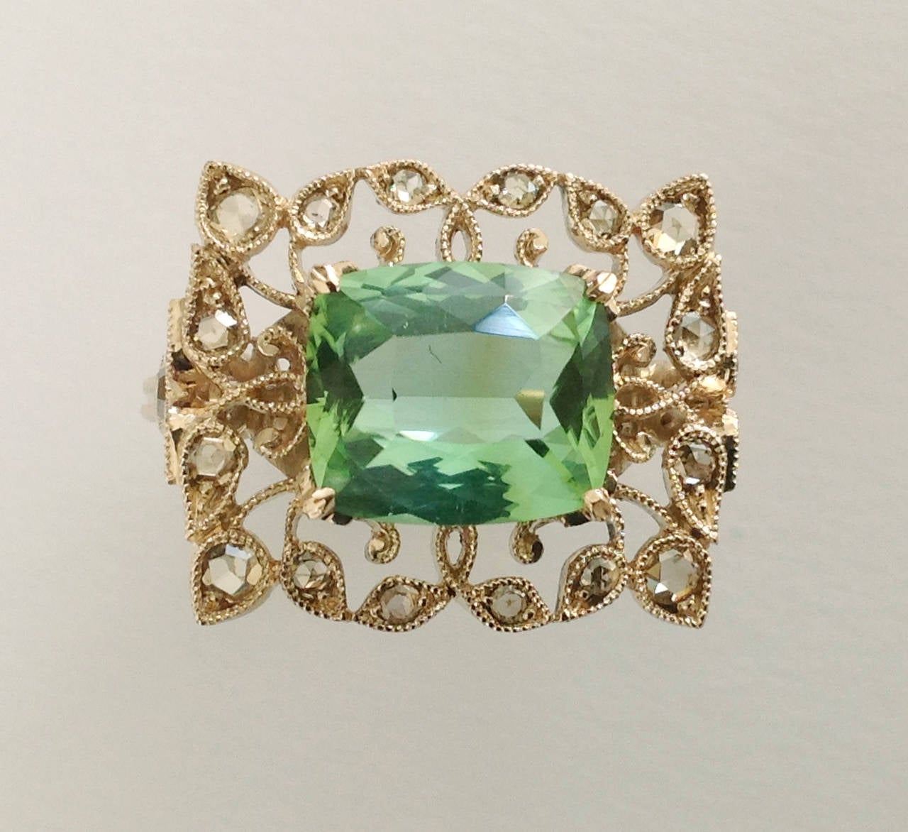 Dalben Green Tourmaline Rose Cut Diamond Gold Fashion Ring In As New Condition For Sale In Como, IT