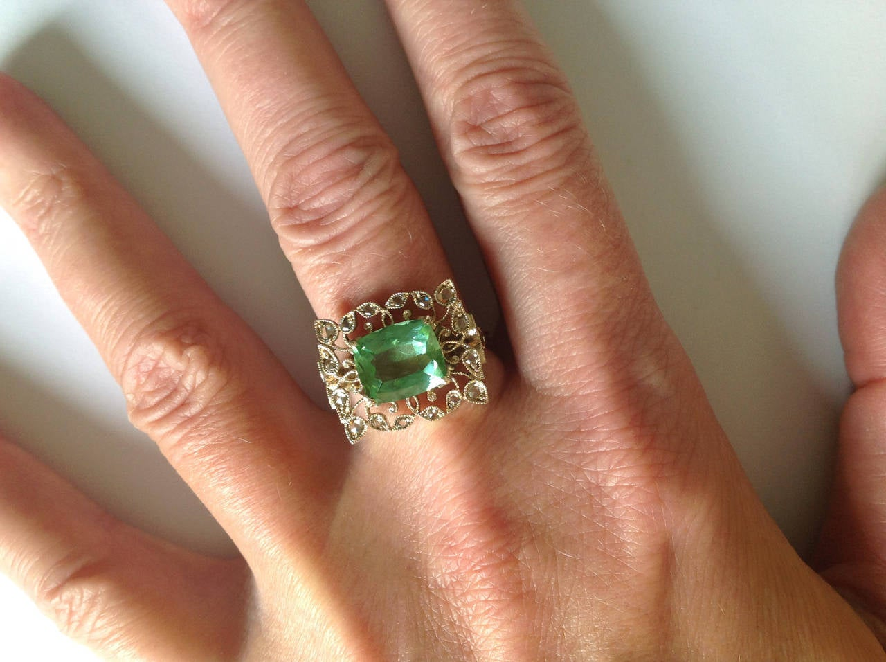 Dalben Green Tourmaline Rose Cut Diamond Gold Fashion Ring For Sale 5