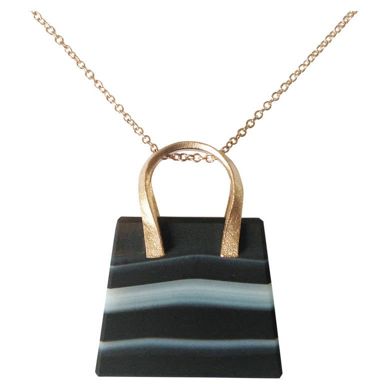 Dalben Banded Agate Rose Gold Bag Necklace For Sale