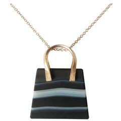Dalben Banded Agate Rose Gold Bag Necklace