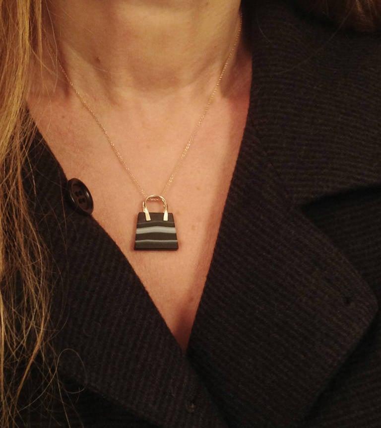 Dalben Banded Agate Rose Gold Bag Necklace For Sale 4