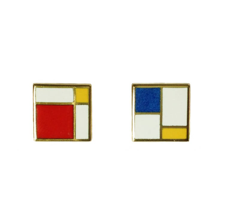 Dalben Homage to Mondrian Enamel Gold Earrings In As new Condition For Sale In Como, IT